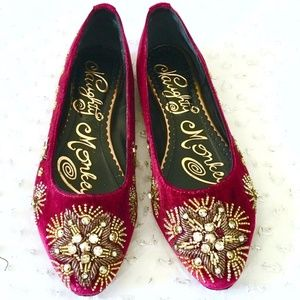Red Velvet Flats Beaded Shoes Embroidered Size 6.5